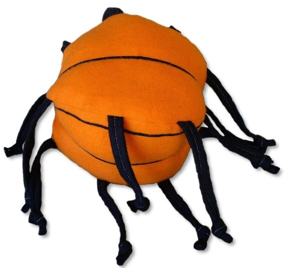 Plush basketball with knotted strings, unique ball, baby toy, handmade, orange, black, lovey, throw, tug, pull, catch, game, cuddle