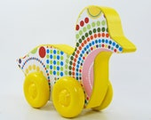 Rolling Duck Wood Toy - Polka Dot Spiral