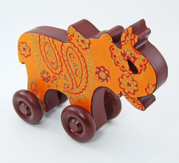 Rolling Elephant Wood Toy - Indian Sparkle