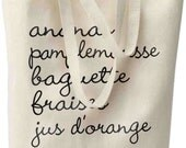 French Grocery List Tote