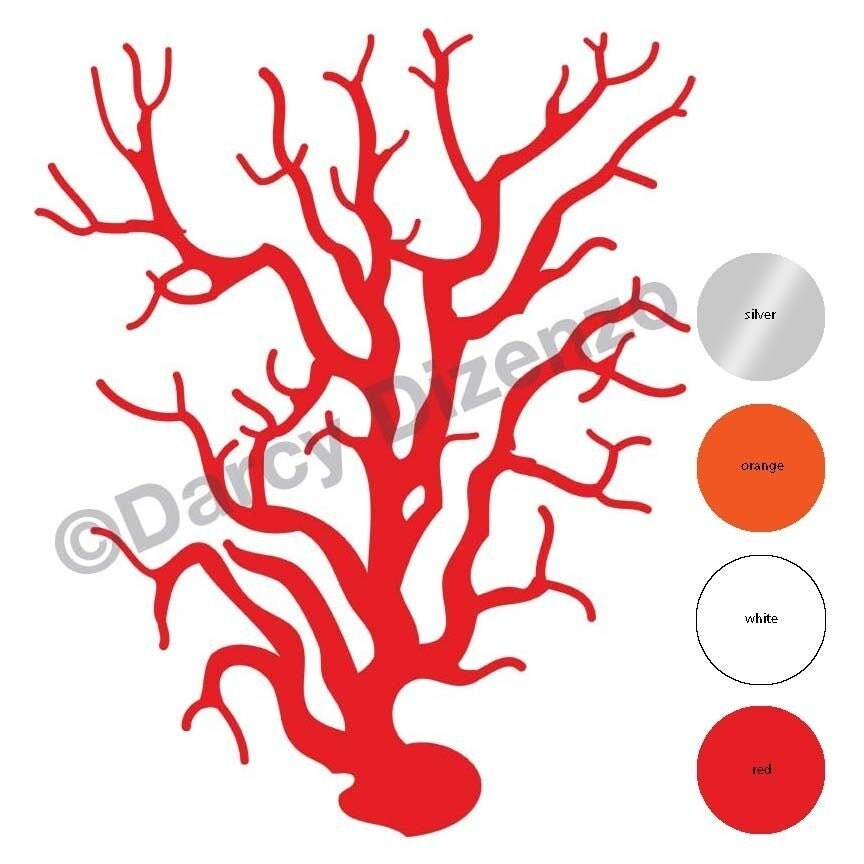 TWO Coral Wall Decals red orange white or silver by darcyart