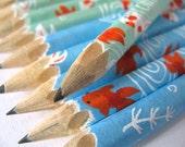 mini washi-wrapped japanese pencils - set of 10 - swimming lessons