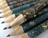mini washi-wrapped japanese pencils - set of 10 - fuji fog