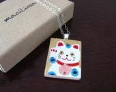 lucky cat washi pendant necklace on a silver-plated chain - medium - maneki neko
