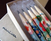 pencils made with japanese paper - set of 5 - patchwork sakura