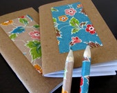 earth-friendly japanese memo notebooks - 2 mini notebooks and pencils - vintage wallpaper