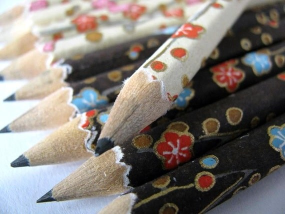 S A L E mini hand-wrapped japanese pencils - set of 10 - chocolate and vanilla