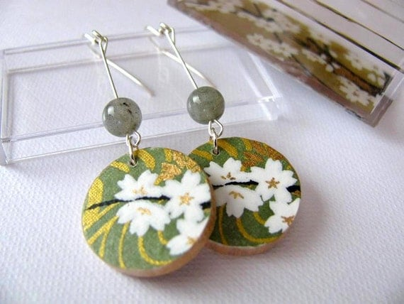 wooden earrings made with japanese washi and sterling silver - japanese teahouse