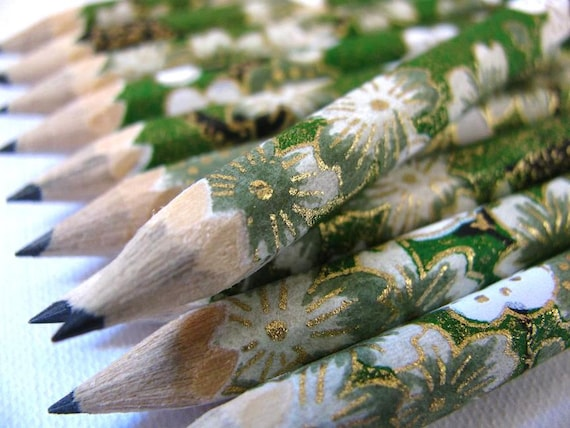 S A L E mini hand-wrapped japanese pencils - set of 10 - emerald evening