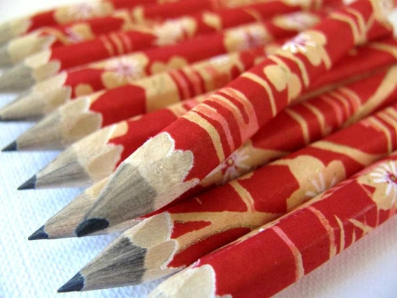 S A L E mini pencils wrapped in chiyogami - set of 10 - beauty at sunset