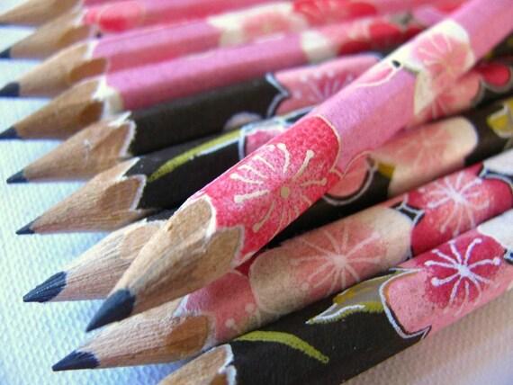 S A L E mini washi-wrapped japanese pencils - set of 10 - sugary sweet