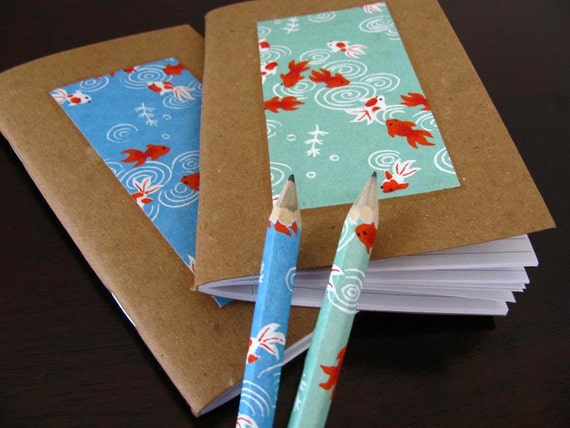 koi fish memo journals made from recycled materials and japanese paper - 2 mini notebooks and pencils - swimming lessons