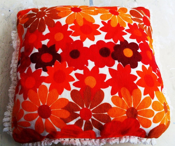 Vintage Psychedelic PILLOW CASE 60s England Orange Red FLOWERS Chenille Fringes No 7