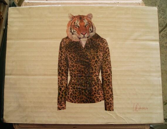 Digital PRINT on Cardboard to Hang on Wall, TIGER in a Leopard Jacket, Ain't My Fur Coat Shaggin' by Laszlo Bolender