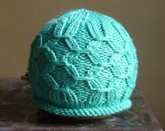 SALE 25% off  - Handknit Smocked Aqua Infant hat.