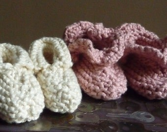 NEW - Handknit Ruffled Infant Booties from Pale Pink Organic Cotton Beanie/Hat not sold in this listing