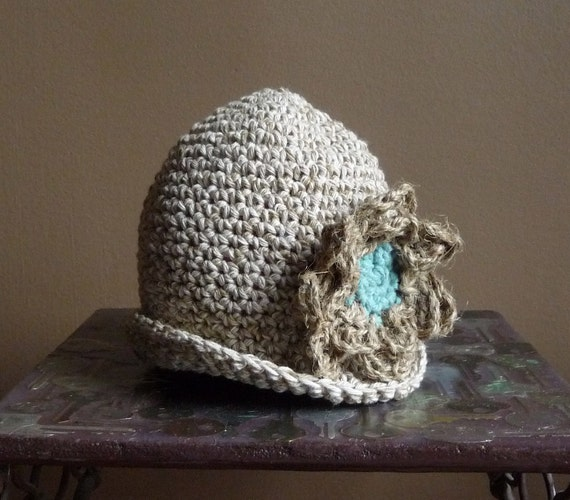 Sunhat Hand Crocheted Infant Sun Hat Cotton Twine Flower