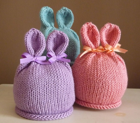 Bunny Rabbit Hat Photo Prop Infant Newborn Baby Easter Hand Knit Beanie Halloween Costume Animal