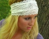 White Stretchy Lace Headband, Comfortable Hairband, Wedding or Casual 5 inch Wide Headband