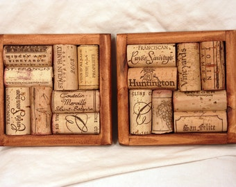 Two Chestnut Stained Wooden Recycled Wine Cork Coasters