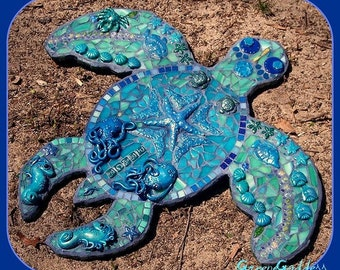 Turtle Blues Mosaic Wall Art Handsculpted Mosaics