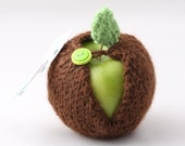 Apple Jacket-Cocoa  with Lime green and dark green buttons