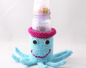 Baby Bottle Cuptopus Sleeve/ Pencil cup holder- in Aqua and Magenta with white and Black Buttons