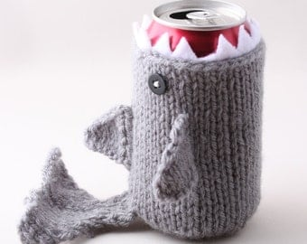 Shark, Geeky, Shark Week, Gift for Teacher, Gift for Student, Friends, Gift for Boyfriend, Beer Cozy, Sport Drink, Knitted, Father's Day