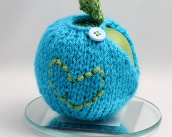I Heart You Forever - Apple Cozy -Aqua with pastel blue button