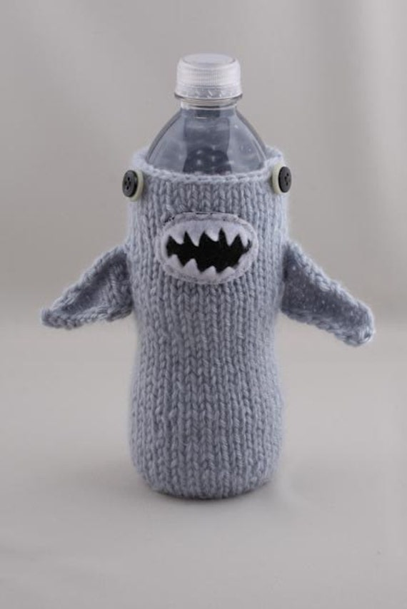 Water Bottle Cozy - Monster Shark in Silver Blue