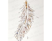 Feather Papercut ACEO, Handcut Original, Watercolor