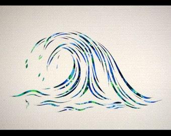 Splash Papercut ACEO, Handcut Original, Watercolor