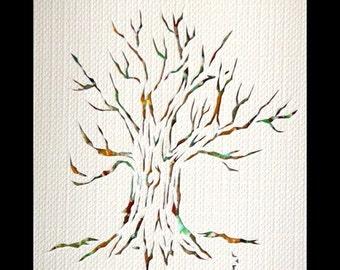 Tree Papercut ACEO, Handcut Original, Watercolor