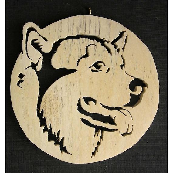 Siberian Husky, scroll saw ornament