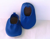 Kids Blue Leather Moks