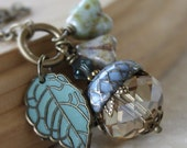 Acorn necklace -  blue swarovski crystal brass aqua leaf acorn necklace