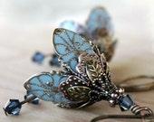 Flower,earrings,blue,romantic,weddings,something blue,bridal,bridesmaid,brass,swarovski crystal,copper,autumn,earrings