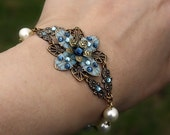 Flower bracelet blue pearl - earrings flower blue swarovski crystal gift set czech glass romantic bracelet