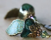 Teal Flower Dangle Earrings - leaf green aqua weddings bridesmaid romantic brass earrings