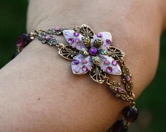 Flower Bracelet, Beadwork, Amethyst Bracelet, Crystal Bracelet, Summer Jewelry, Gift For Her, Gift For Girlfriend, Graduation Gift