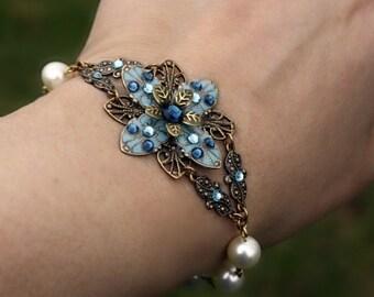 Bridesmaid Jewelry, Bridesmaid Bracelet, Bridesmaid Gift, Bridal Jewelry, Bridal Set, Pearl Bracelet, Crystal, Flower, Something Blue