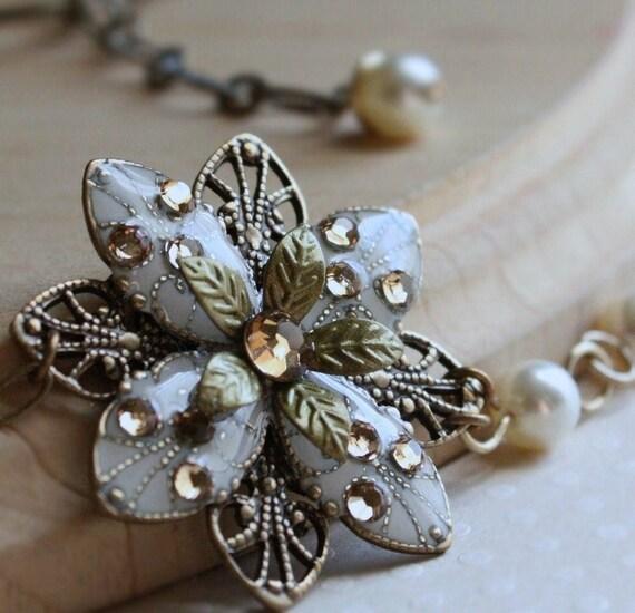 FREE matching earrings bridesmaid earrings necklace weddings ivory flower pearl necklace earring set