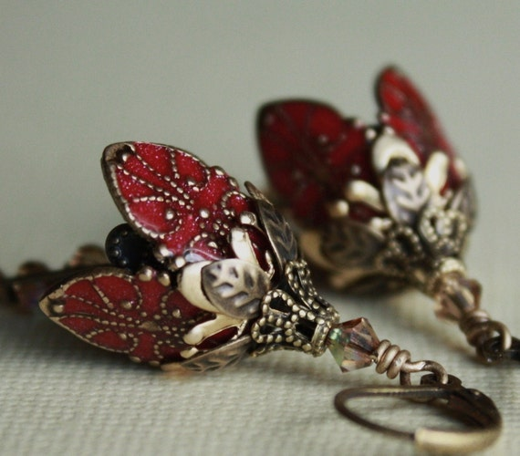 Flower earrings red romantic weddings bridesmaid gift