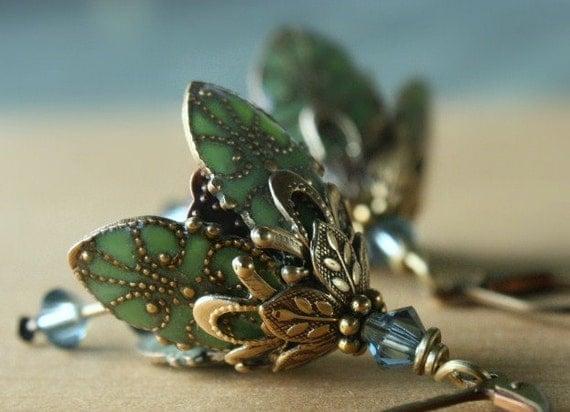 Green flower earrings - blue crystal brass victorian inspired romantic earrings