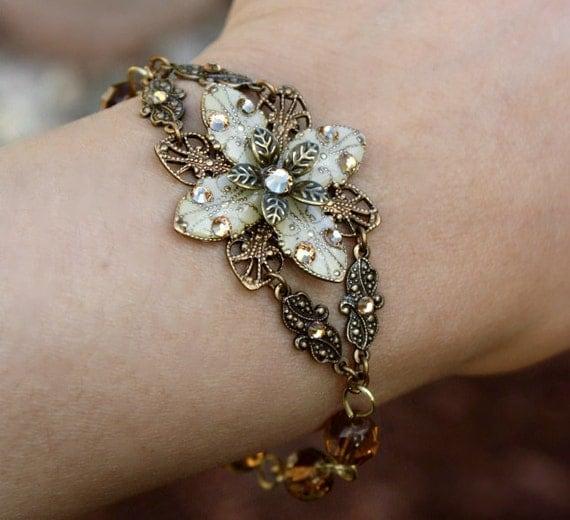 bridesmaid bracelet - weddings jewelry bridal jewelry ivory flower everyday wear jewelry