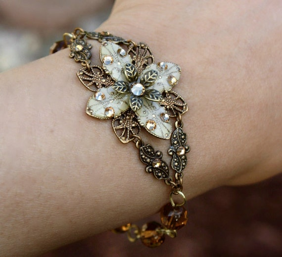 Ivory flower bracelet - weddings jewelry bridal jewelry ivory flower everyday wear jewelry