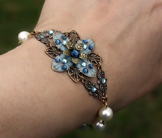 bridesmaid jewelry bracelet blue pearl - earrings flower blue swarovski crystal gift set czech glass romantic bracelet