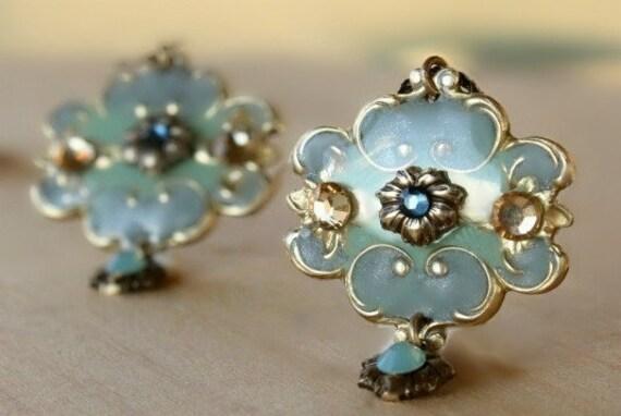 Chandelier earrings - blue flower grey green brass romantic victorian inspired earrings