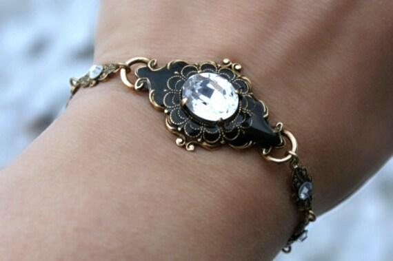 Crystal bracelet black vintage swarovski crystal brass link bracelet