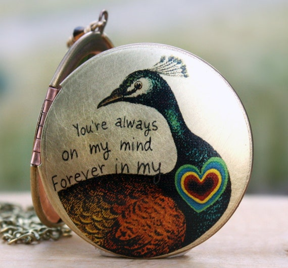 Peacock locket heart quote love romantic brass vintage locket